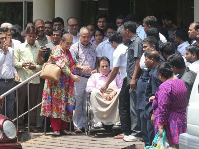 Dilip Kumar after being discharged from Lilavati Hospital, Mumbai on April 21, 2016.