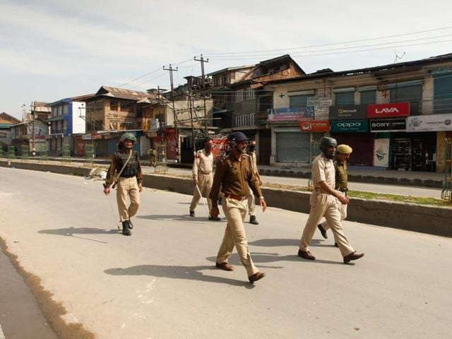 Protesters throw stones on police in clashes that erupted after rumours of army jawans molesting a minor girl in Handwara emerged,  in Srinagar.