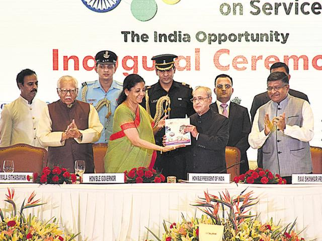 President Pranab Mukherjee at the inauguration of the second edition of the Global Exhibition on Services -2016 at the India Expo Centre & Mart in Greater Noida.