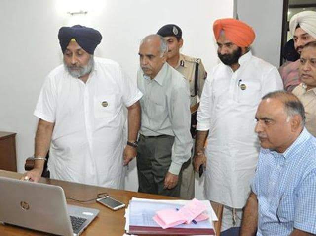 Punjab deputy chief minister Sukhbir Singh Badal launching police mobile applications on Friday.