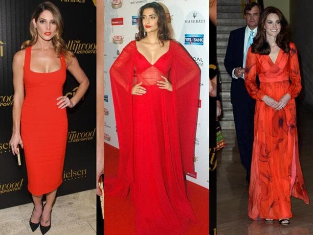 (From left) Actors Ashley Greene, Sonam Kapoor and Duchess of Cambridge, Kate Middleton went for varied shades of red. Which one's your favourite?