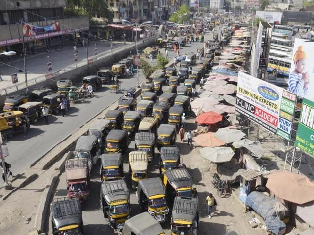 Traffic jam being caused due to hordes of auto-rickshaws near the bus stand in Amritsar on Thursday.