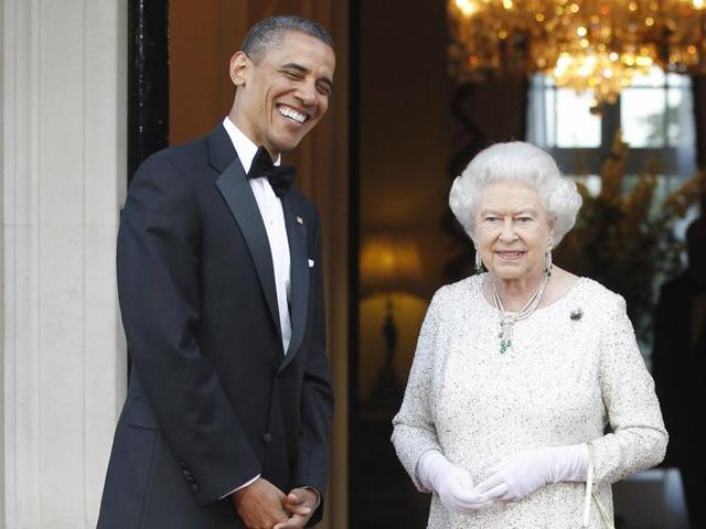 President Barack Obama and first lady Michelle Obama with Britain's Queen Elizabeth II and Prince Philip at Winfield House in London.