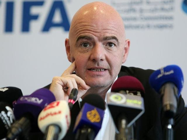 FIFA President Gianni Infantino speaks during a press conference in the Qatari capital Doha.