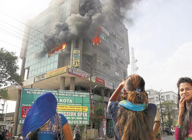 The fire broke out on the fifth floor office of a vegetable oil company around 3 pm on Friday.