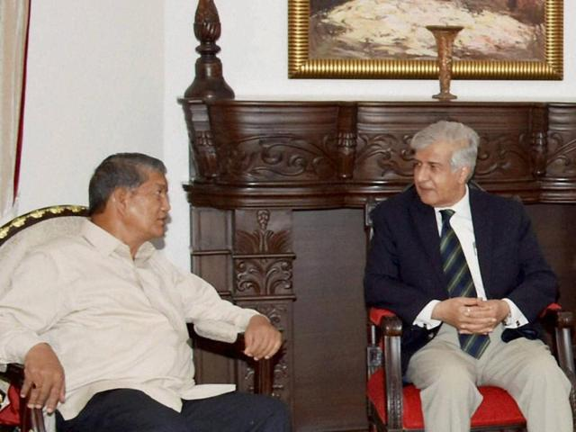 Uttarakhand chief minister Harish Rawat during the Cabinet Meeting in Dehradun on Thursday following the HC quashing President's Rule in the state.