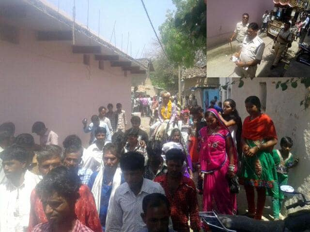Marriage procession of the Dalit groom riding a horse in Mandsaur village.  (Inset) Police escort the procession.