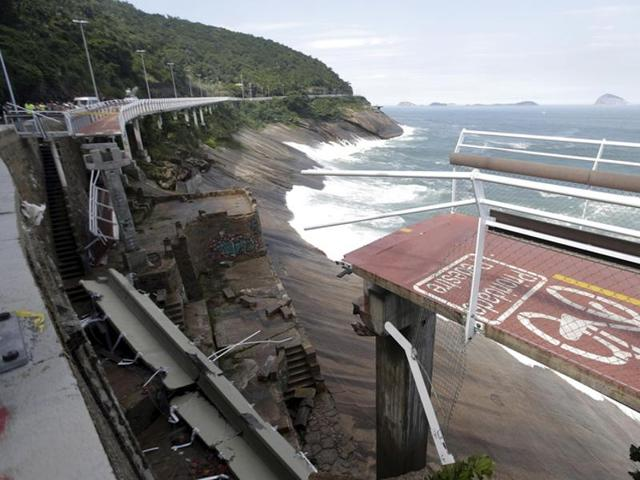The collapsed area of the new cycle lane is pictured in Rio de Janeiro.