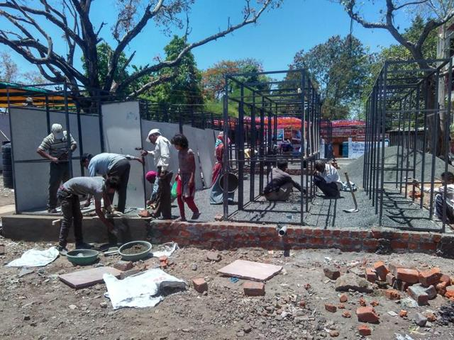 Toilets for the Simhastha devotees still under construction in Bhopal on Friday.