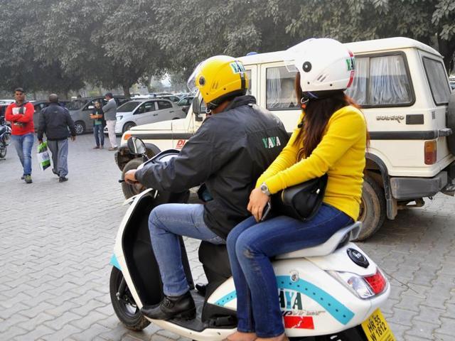 A two-wheeler bike taxi in Gurgaon.