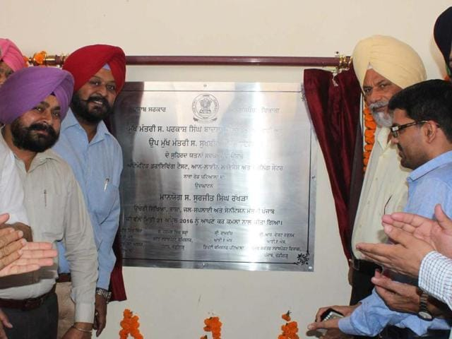 Cabinet minister Surjit Singh Rakhra and others pose after the minister inaugurated the automated driving test centre in Patiala on Thursday.