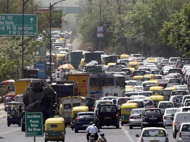Traffic on NH 24, Nizamuddin Bridge. Experts say congestion has to be controlled by boosting public transport.