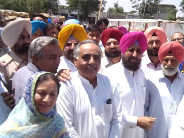 Rajya Sabha member Partap Singh Bajwa at the office of market committee secretary in Gurdaspur on Saturday.