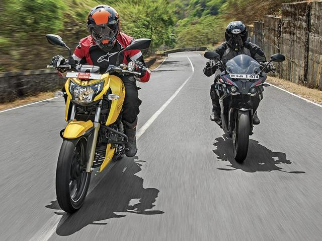 Here's a comparison of the best of the lot, one from bajaj, the Pulsar 200RS and the other one with a racing DNA, the Apache RTR 200