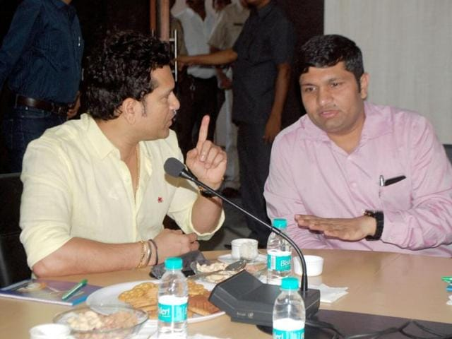 Sachin Tendulkar at a meeting with BMC commissioner Ajoy Mehta about the Deonar dumping ground on Friday.