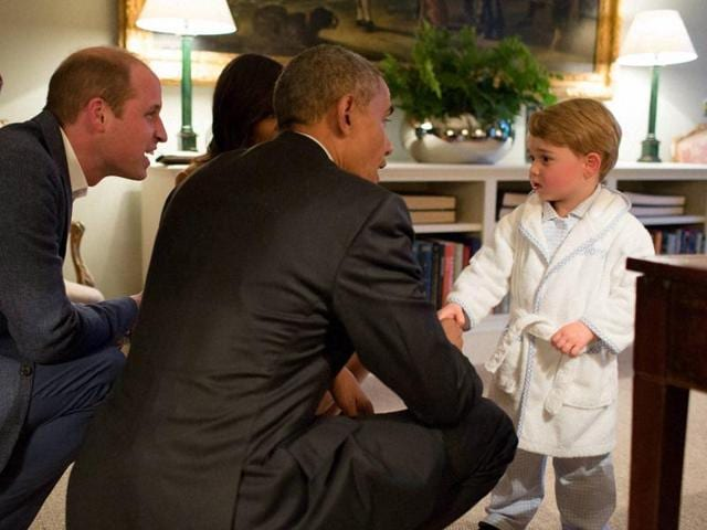 Britain's Prince George meets US President Barack Obama at the Kensington Palace, London on Friday.