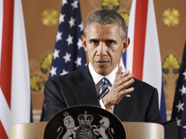 US President Barack Obama speaks during a press conference at the Foreign and Commonwealth Office in central London with Britain's Prime Minister David Cameron (unseen) following a meeting at Downing Street, in London.