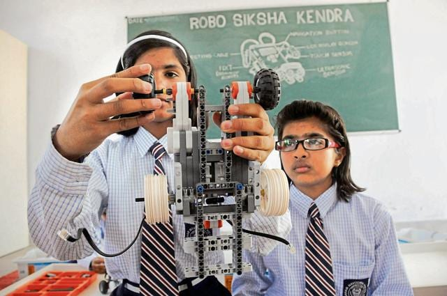 The robotics lab, Robo Siksha Kendra, at the government school in Farrukhnagar was opened in July 2015.