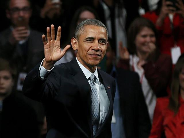 US President Barrack Obama takes part in a Town Hall meeting at Lindley Hall in London.