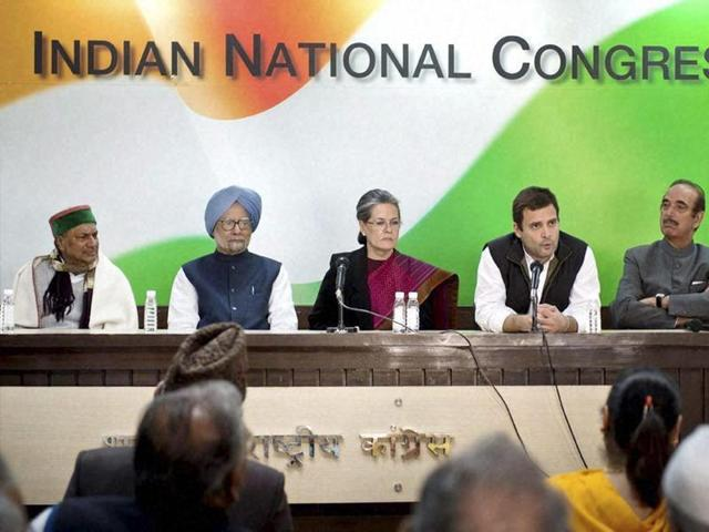 Congress chief Sonia Gandhi, party vice-president Rahul Gandhi with former prime minister Manmohan Singh, Ghulam Nabi Azad and AK Antony interact with journalists during a press meet in Delhi.