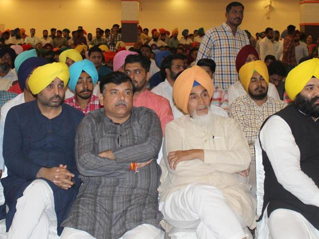 Senior Aam Aadmi Party leaders during  the Punjab Bolda  event at Landran village in SAS Nagar on Saturday.