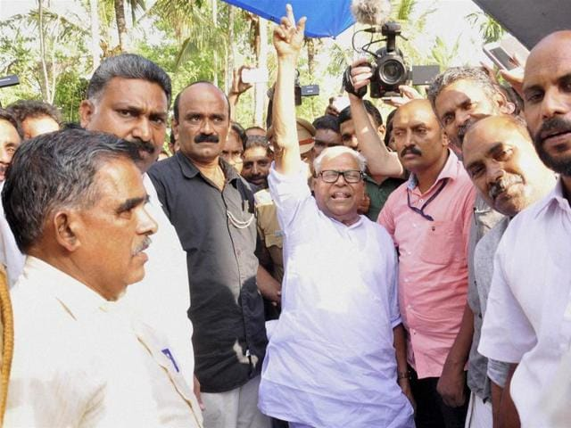 VS Achuthanandan arrives to visit the drought hit areas at Pulappalli in Wayanad on Friday.