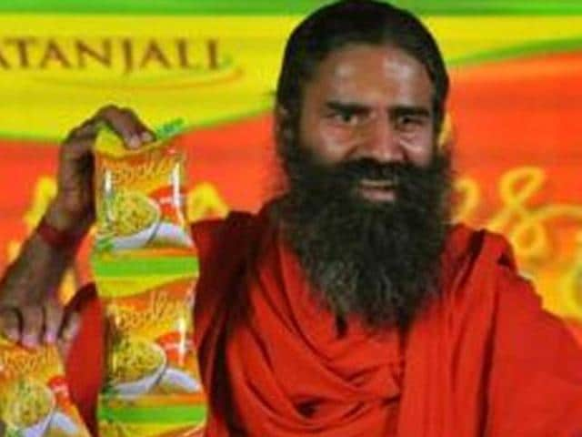 File photo of Ramdev launching Patanjali Atta Noodles, in New Delhi.