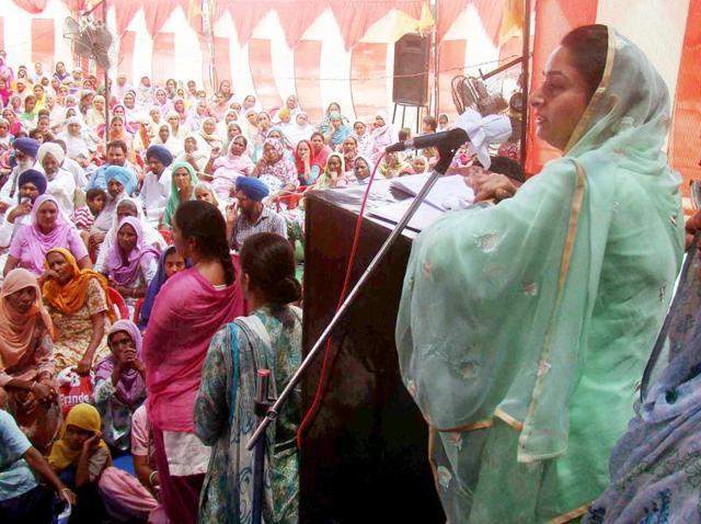 Union minister of food processing Harsimrat Kaur Badal during 'sangat D\darshan' in Bathinda on Sunday.