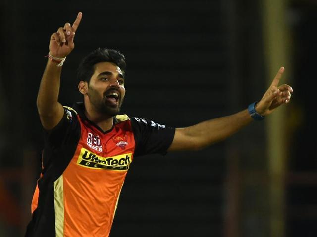 Sunrisers Hyderabad Bhuvneshwar Kumar celebrates the wicket of Gujarat Lions Aaron Finch.