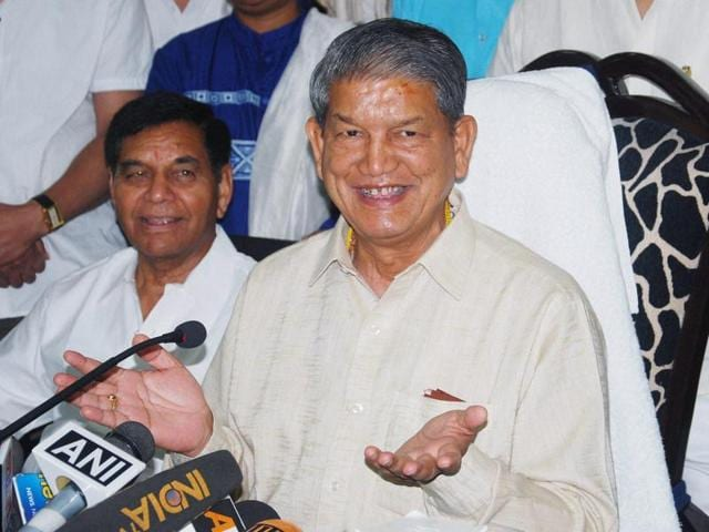 Harish Rawat, former chief minister of Uttarakhand,  addresses a press conference in Dehradun.