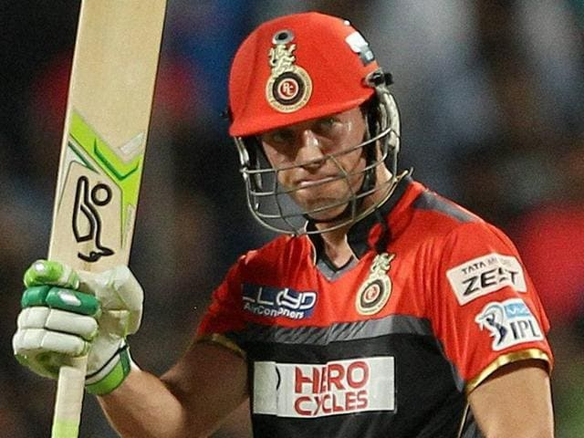 AB de Villiers of Royal Challengers Bangalore celebrates his fifty against Rising Pune Supergiants.