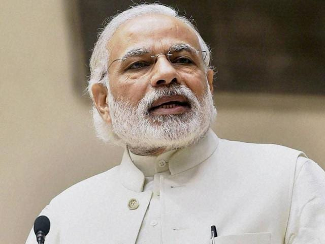 Prime Minister Narendra Modi addressed the 258,000 gram sabhas in the country live through All India Radio and Doordarshan.