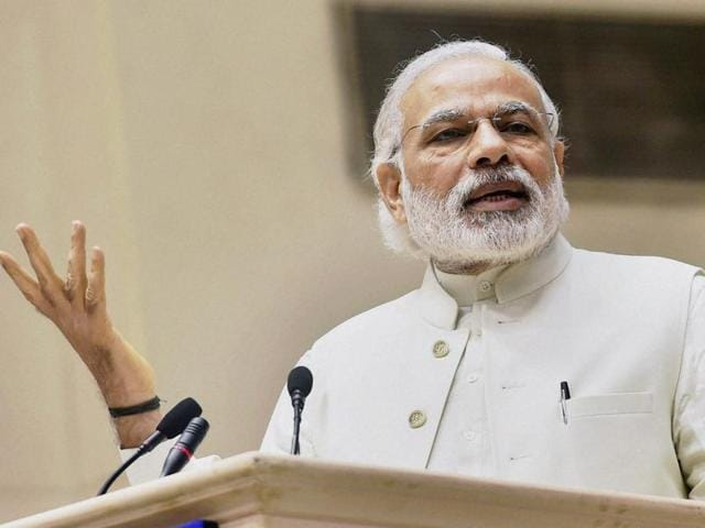 Prime Minister,Narendra Modi addresses the inauguration of Joint Conference of chief ministers and chief justices at Vigyan Bhavan in New Delhi.