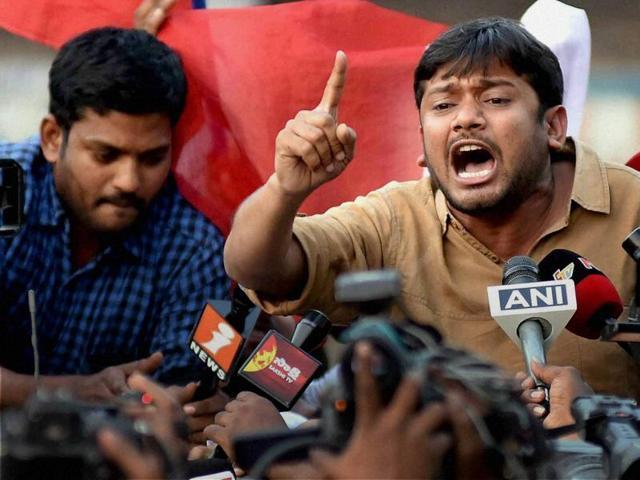 In this file photo, JNU students union president Kanhaiya Kumar addresses the media in Hyderabad.