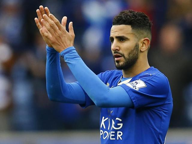 Leicester City's Riyad Mahrez applauds fans after the win over Swansea.