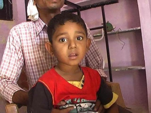 The couple's four-year-old son in Betul district of Madhya Pradesh.