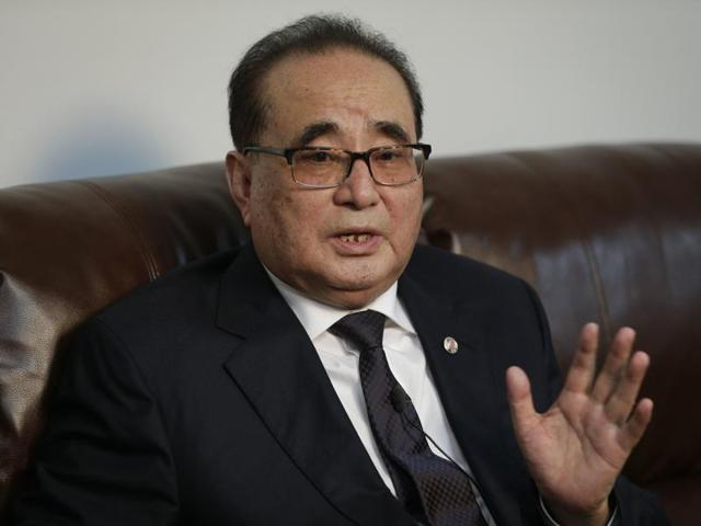 North Korea's Foreign Minister Ri Su Yong answers questions during an interview, Saturday, April 23, 2016, in New York.