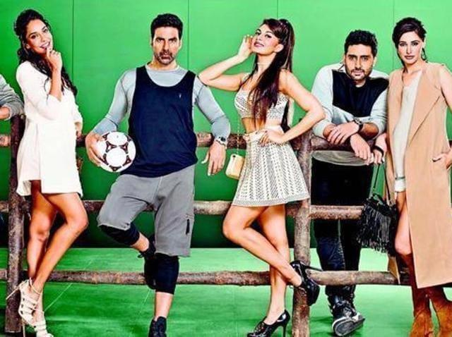 Housefull 3 stars Akshay Kumar, Riteish Deshmukh, Abhishek Bachchan, Jacqueline Fernandez, Nargis Fakhri, and Lisa Haydon.