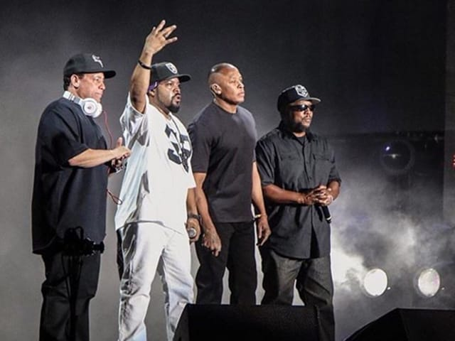 Ice Cube, Dr Dre, MC Ren and DJ Yella performed in front of an ecstatic crowd.
