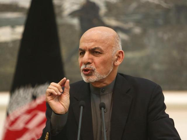 Afghan President Ashraf Ghani speaks during a news conference in Kabul.