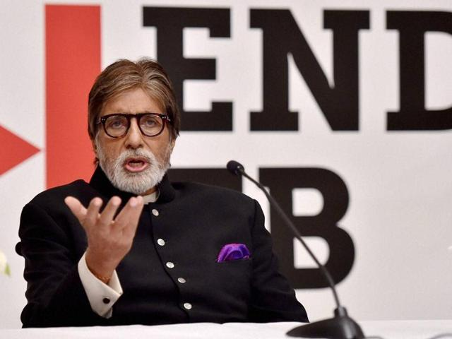 Bollywood actor Amitabh Bachchan speaks during a press briefing.