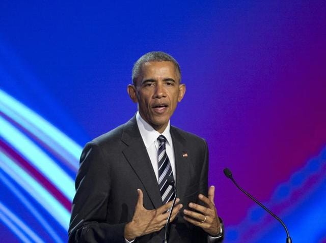 US President Barack Obama speaks during the opening ceremony of the Hannover Messe Trade Fair in Hannover.