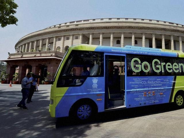 An electric bus which ferries lawmakers to Lok Sabha, at Parliament House on the first day of the second part of budget session in New Delhi on Monday.