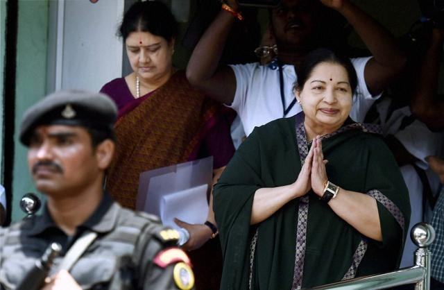 Tamil Nadu chief minister and AIADMK chief J Jayalalithaa leaves after filing nomination papers for the upcoming state assembly polls, at Tondiarpet zonal office in Chennai.