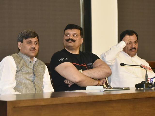 Uttarakhand's rebel Congress MLAs interact with journalist during a press conference in New Delhi.