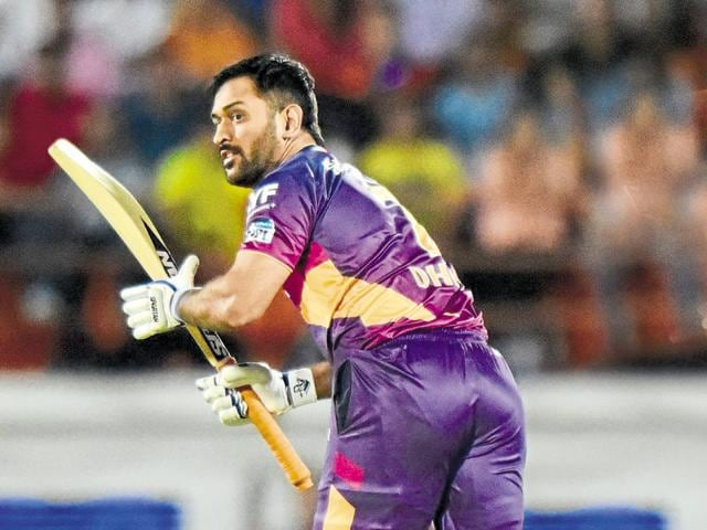 Rising Pune Supergiants captain MS Dhoni steals a single during an IPL match against Gujarat Lions at Saurashtra Cricket Association stadium in Rajkot.