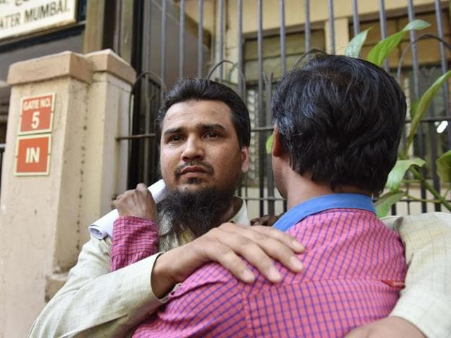 The accused in the 2006 Malegaon blasts celebrate after their acquittal on Monday.