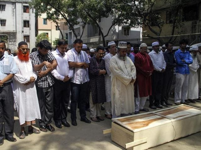 Relatives and friends attend the funeral prayer of Bangladeshi activist Xulhaz Mannan in Dhaka.