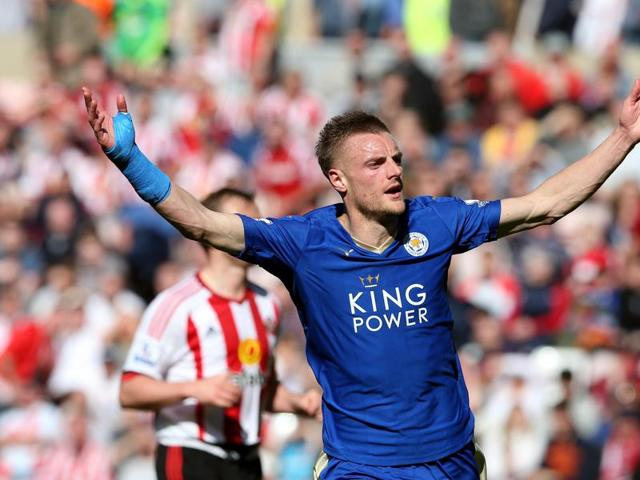 Leicester striker Jamie Vardy has been banned for an extra game and will miss Sunday's trip to Manchester United, where the Foxes could clinch the English Premier League title.