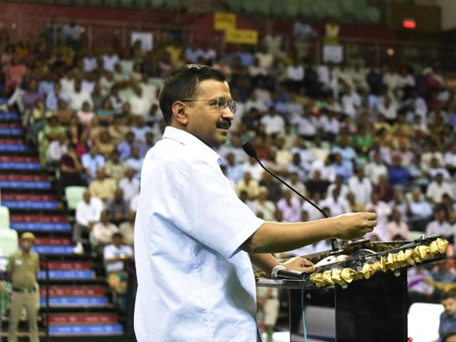 Delhi Chief Minister Arvind Kejriwal speaks during the launch of a mobile app for estate managers of government schools, New Delhi, April 25, 2016